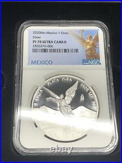 2020 Mo Silver Libertad, Set of 2, Proof and BU NGC PF70 & MS70 W Display Box
