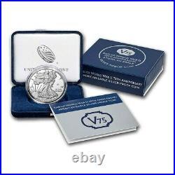 2020-W 1 oz Proof American Silver Eagle End of WW2, V75 Privy with Box & COA