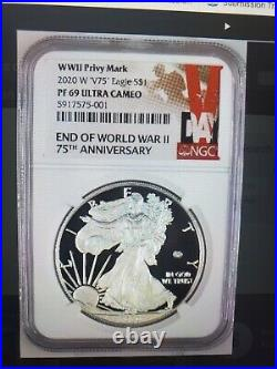 2020 W END of WW 2 75th ANNIVERSARY PROOF SILVER EAGLE V75 NGC PF69UC WithBox &COA