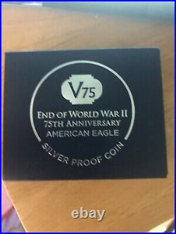 2020 W END of WW 2 75th ANNIVERSARY PROOF SILVER EAGLE V75 NGC PF70UC WithBox &COA