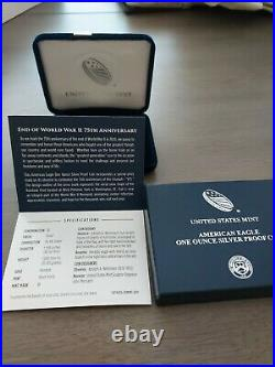 2020 W End WW2 75th Anniversary American Eagle Silver Proof Coin V75 withbox/coa