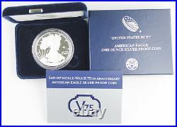 2020 W End of WWII 75 Anniversary American 1 Oz Proof Silver Eagle V75 +BOX &COA