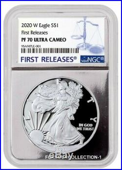 2020 W NGC PF70 First Releases American Eagle Proof 1oz Silver Box & COA (20EA)