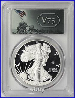 2020-W Silver Eagle $1 Proof PR 69 DCAM PCGS End of WWII V75 Privy Mark Box COA