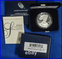 2020 s Proof Silver Eagle with COA in mint box