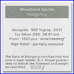2021 Mongolia Woodland Spirits HEDGEHOG 1 oz silver proof coin with BOX & COA