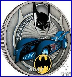 2021 Niue DC Comics 1997 Batmobile 1 oz Silver Colorized Proof Coin New in Box