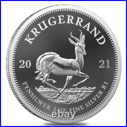2021 South Africa 1 oz Proof Silver Krugerrand. 999 Fine (withBox & COA)