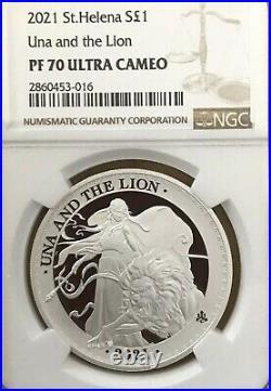 2021 Una and The Lion 1 oz Silver Proof NGC PF70 St Helena UK BOX COA SALE