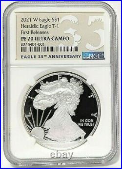 2021 W $1 American Proof Silver Eagle Type 1 Ngc Pf70 Fr = Box & Coa Included =