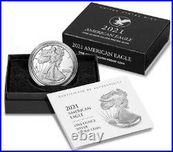 2021-W 1 oz Proof Silver American Eagle Coin, type 2 with Box and Certificate