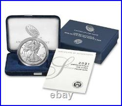 2021 W American Eagle 1 oz Silver Proof Type 1 Coin -2 Coins in mint sealed box