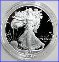 2021-W IN HAND Type-2 PROOF AMERICAN SILVER EAGLE COIN withU. S. Mint Box & COA