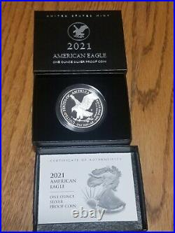 2021-W NEW American Silver Eagle Proof Type 2 with Box and OGP (In Hand)