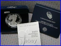 2021-W Proof $1 American Silver Eagle Box OGP & COA 21EA IN STOCK