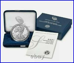 2021-W Proof $1 American Silver Eagle Box OGP & COA (21EA) Type 1