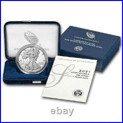 2021-W Proof $1 American Silver Eagle in Mint Box & COA Free Priority Mail Ship