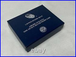 2021 W Proof American Silver Eagle (Type 1) 1 oz. 999 Silver OGP Box COA