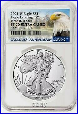 2021 W Proof Silver Eagle Type 2 Landing Ngc Pf70uc Pr70 Fr Box Included Presal6