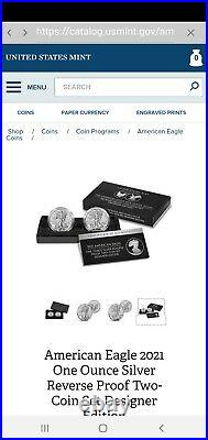 2021-w Type 1 & 2 Proof Silver Eagle (2) Coin Set In Display Box
