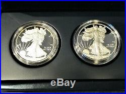 2 American Silver Eagle Proofs Dcam 2011w And 2008w With Us Mintcase And Box