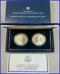 2pc SET PROOF & UNC 2001 AMERICAN BUFFALO SILVER $1 COMMEMORATIVES With BOX & COA