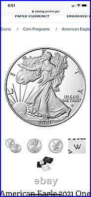 3. 2021 W PROOF American Silver Eagle Type 2. Unopened Box. Arrived Today