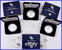 3 American Silver Eagle Proofs 2017s, 2018s, 2019s With Original Box & COA's