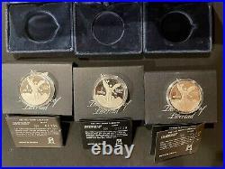 3 Coin Lot 1986 Mexico Libertad Proof 1 oz Silver Onza Cover, Box, & COA