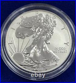 5 Pc. 2011 Proof Silver Eagle Set 25th Anniversary Box And Certs Original Toning