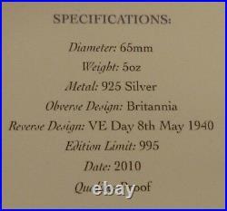 5oz Sterling Silver Proof Britannia VE Day Commemorative Medallion 2010 Boxed