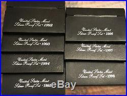 7 SILVER US Proof Sets, 1992 1993 1994 1995 1996 1997 1998. Full'BLACK BOX' RUN