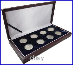 8 Coin Lot Of 1 oz Silver Apollo 11 Proof-Like Capsuled Rounds WithDisplay Box