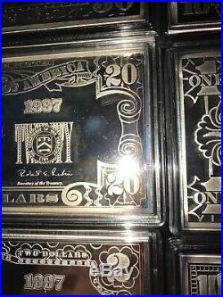 999 Silver Proof 8 Bars 1/4 Pound Each 2# Total Box & COA Washington Mint 1997