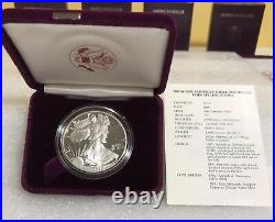 American Eagle Silver Proof Dollar 1989 1990 1991 1992 -S- Lot Of 4 Box & COA