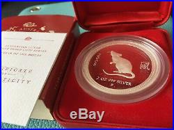 Australia 2008 Perth Mint Lunar Series I MOUSE rat 2oz Silver Proof Coin box/coa