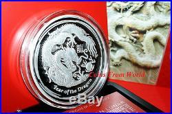 Australia 2012 Silver Proof 1kg Lunar II Dragon Coin. Only 500 pcs. COA BOX
