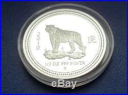 Australia 50cents $0,5 2008 2010 Proof Lunar I Tiger 1/2oz Silver BOX & COA RARE