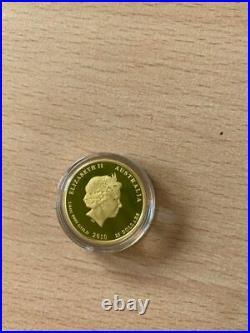Australian lunar II gold proof pp tiger 2010 1/4 oz Coa box case perth mint