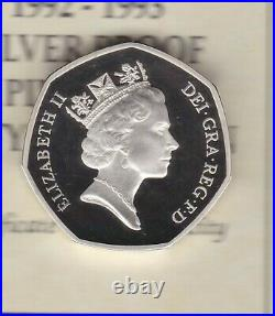 Boxed Royal Mint 1992-1993 Piedfort Silver Proof Eec 50 Pence With Certificate