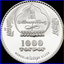 CHINGGIS KHAAN FARBIG 999 SILBERMÜNZE 1 OZ PROOF 2014 SILVER COIN with COA + BOX