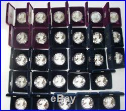 COMPLETE SET 1986 2014 US Silver Eagle Proof Coins All Original Boxes & COA's