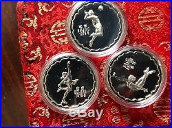 China 1979 3 piece Silver Proof Medal Set With Original Box and COA RARE