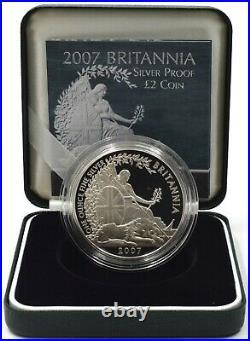 Coin Silver Proof 2007 Britannia 1oz £2 Box COA Bullion