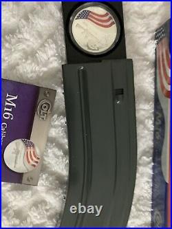 Colt M16 Caliber 5.56mn 1 ounce 1oz Silver coin Clip Box COA proof Bullion. 999