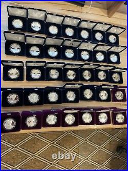 Complete 1986-2021 American Silver Eagle 35 coin Proof Set withall boxes and COAs