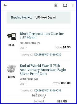 End of World War II 75th Anniversary American Eagle Silver Proof Coin Sealed Box