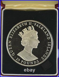 FALKLAND ISLANDS 1985 £25 SELF SUFFICIENCY 5oz SILVER PROOF boxed/coa