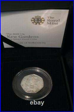 Fifty Pence 50p 2009 Kew Gardens SILVER PROOF Orginial Royal Mint Box COA RARE