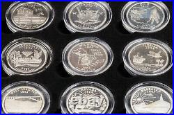 Full Set of 56 Proof Silver State Quarters and US Territories with Box and Case